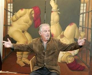 Fernando Botero in front of one of the Abu Ghraib paintings