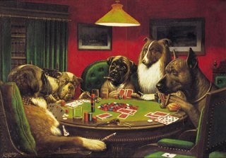 Cassius Marcellus Coolidge dog playing poker painting