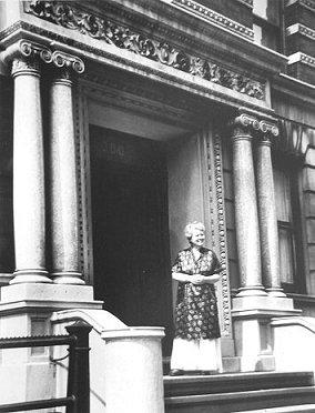 Alice Neel in front of her apt. in NYC, 1968 by Lida Moser